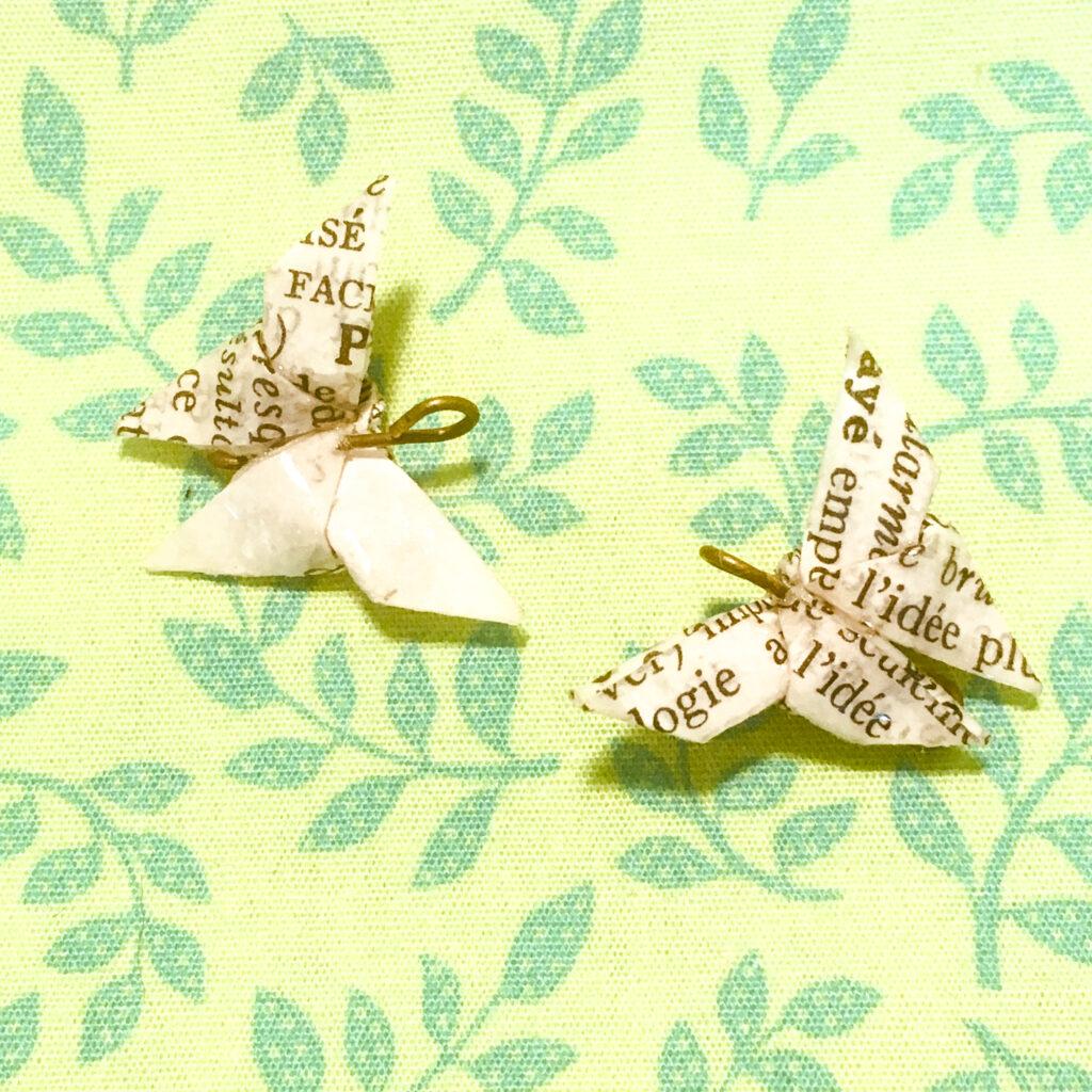 papillon origami boucles d'oreilles